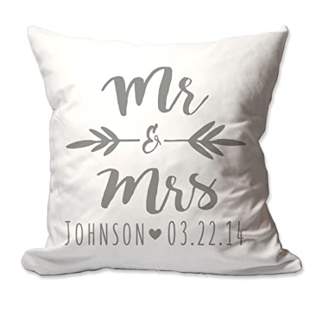 Pattern Pop Personalized Brush Script Mr. Mrs. Throw Pillow