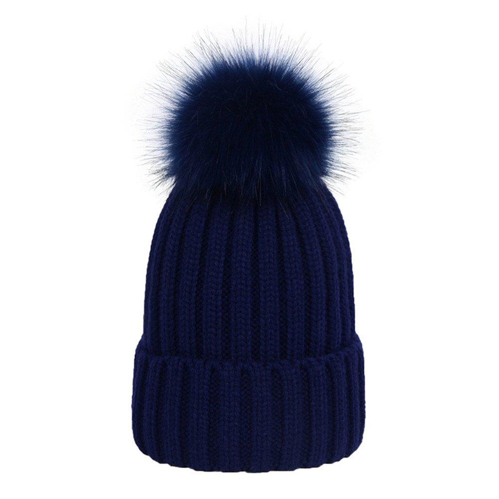 d2e1e7a07c675 Dikoaina Womens Girls Winter Fur Hat Large Faux Fur Pom Pom Beanie Hats at Amazon  Women's Clothing store:
