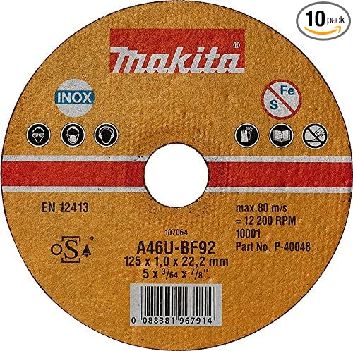 P-40048-10 Cutting Disc Inox 4.92inx1mm 10Pcs Makita