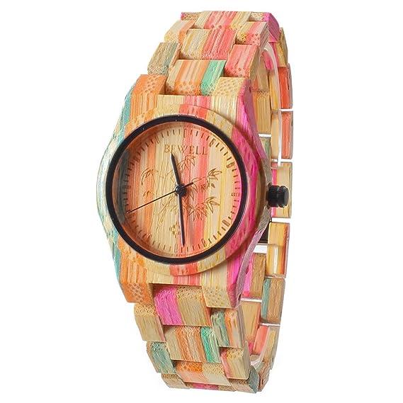 Reloj de las mujeres de FunkyTop Relojes de cuarzo de madera natural hechas  a mano del bambú del 100% c131e014696f