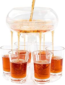 6 Shot Glass Dispenser and Holder, Shot Buddy Beverage Dispenser with Glasses Home Bar Liquor Pour Dispenser Drink Dispenser for Parties Cocktail Carrier Gifts