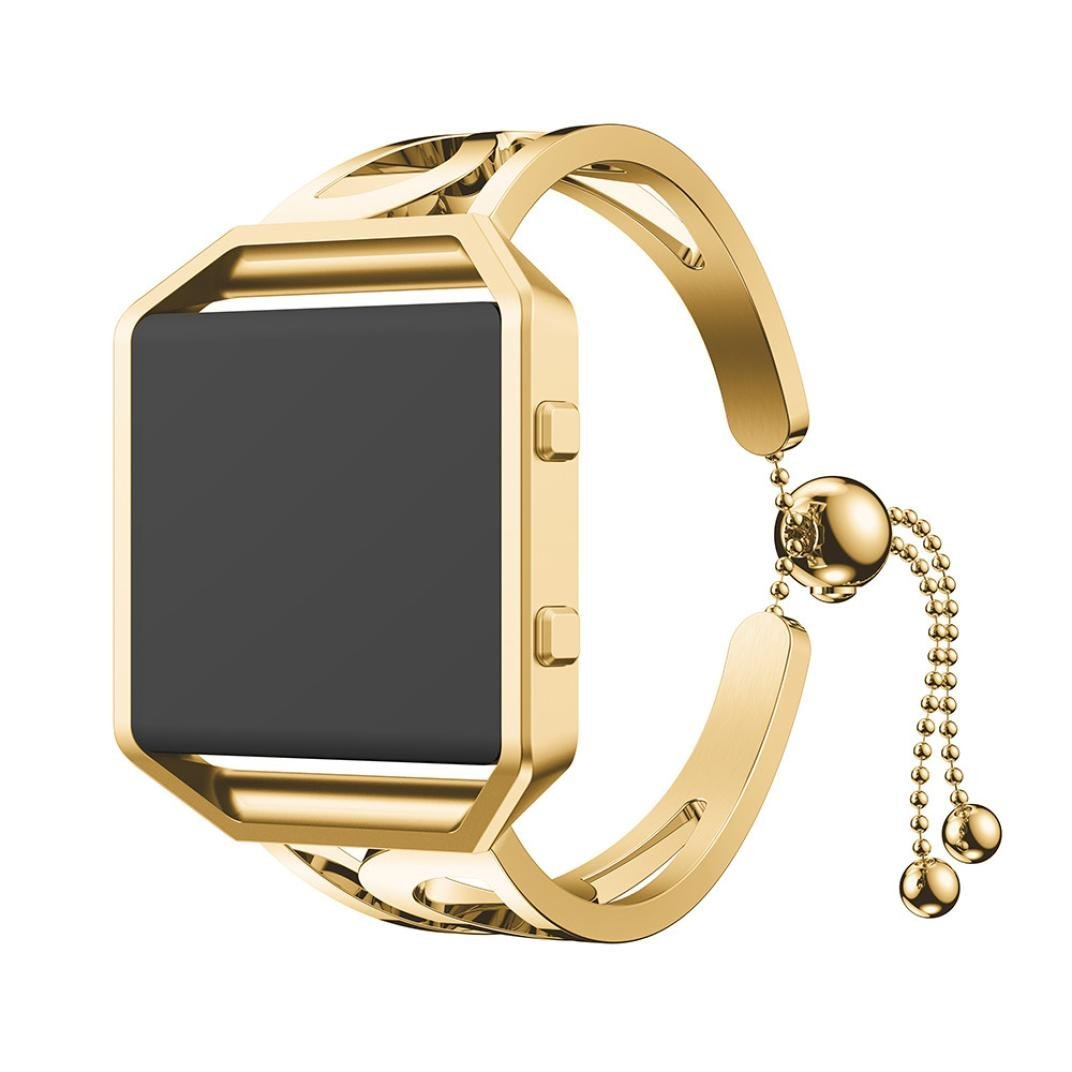 Fitbit Blaze Bands,AutumnFall 2018 Fashion Stainless Steel Bracelet Replacement Women Girls Watch Band Strap For Fitbit Blaze (Gold)