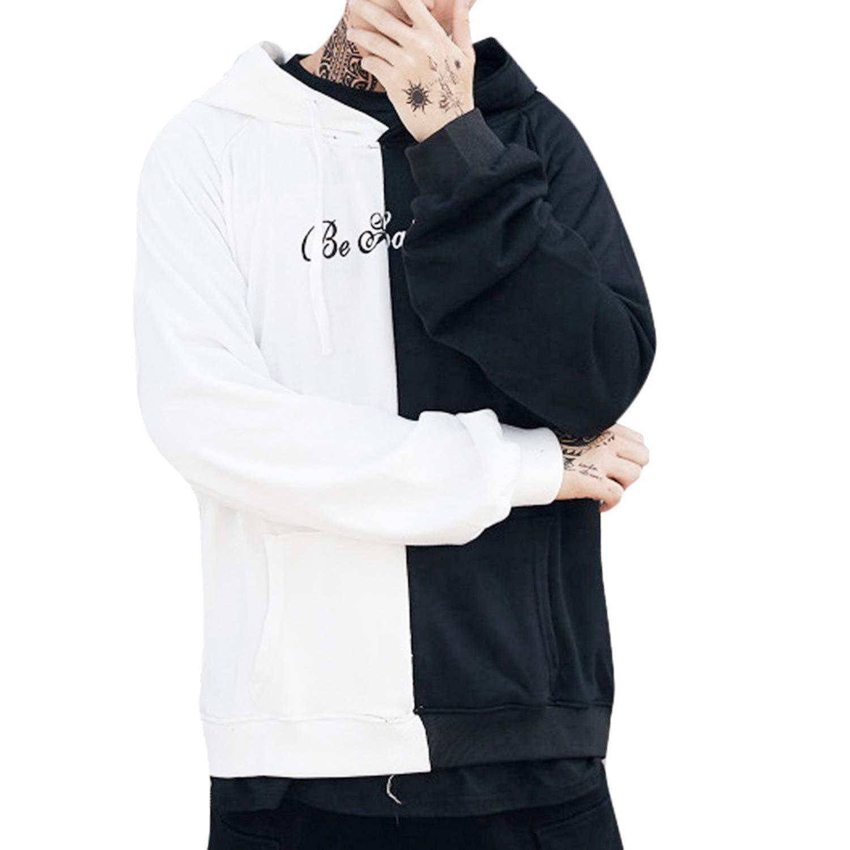 ღLILICATღ Hombre Sudadera con Capucha Deportivo de Manga Larga Patchwork Hip Hop Cara Sonriente Impreso Pullover para Hombres Primavera Oto/ño Sweatshirt Tops Adolescente Tops de Deportes