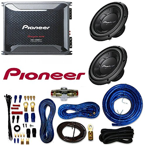 "Pioneer TS-W106M 1100W Peak (250W RMS) 10"" Single 4-Ohm Car Subwoofer GM-D8601 Mono subwoofer amplifier 800 watts RMS at 1 ohm and Amplifier Wiring Kit"
