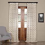 HPD HALF PRICE DRAPES Half Price Drapes SHCH-ORE28823-84 Embroidered Faux Linen Sheer Curtain, Saida Chocolate