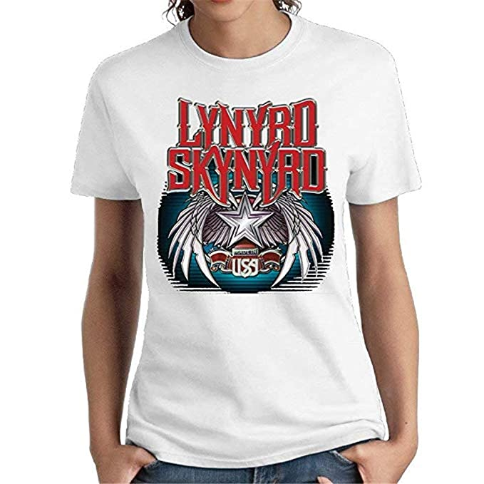 e0ab3cefa6ed4 Lynyrd Skynyrd Woman s Funny Short Sleeve Shirts Girl Music Band T-Shirt  White at Amazon Women s Clothing store