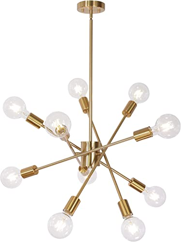 MELUCEE 10 Lights Modern Chandeliers Brass Sputnik Light, Mid Century Chandelier Industrial Pendant Lighting Semi Flush Mount for Living Room Dining Room Bedroom