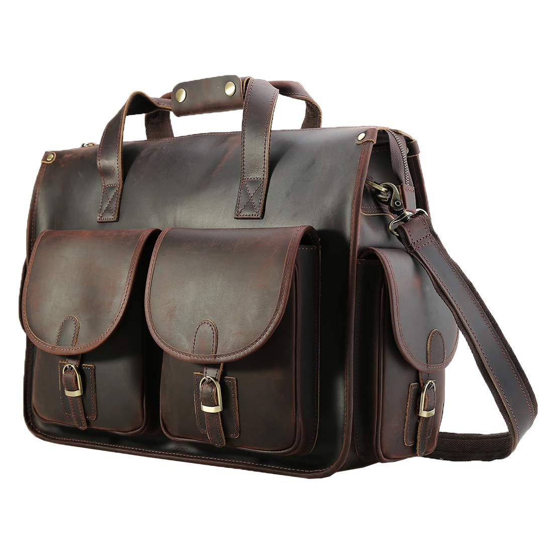 Polare 17'' Vintage Full Grain Leather Messenger Bag For Laptop Briefcase Satchel Bag