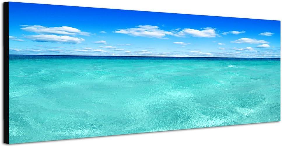 motif panorama sur ch/âssis pr/ête /à accrocher nos images s/éduisent par inhabituel de formats et de la pression tr/ès d/étaill/ées jusqu/à 100 m/égapixels pour photos haut dis Mer bleu mer 150 x 50 cm