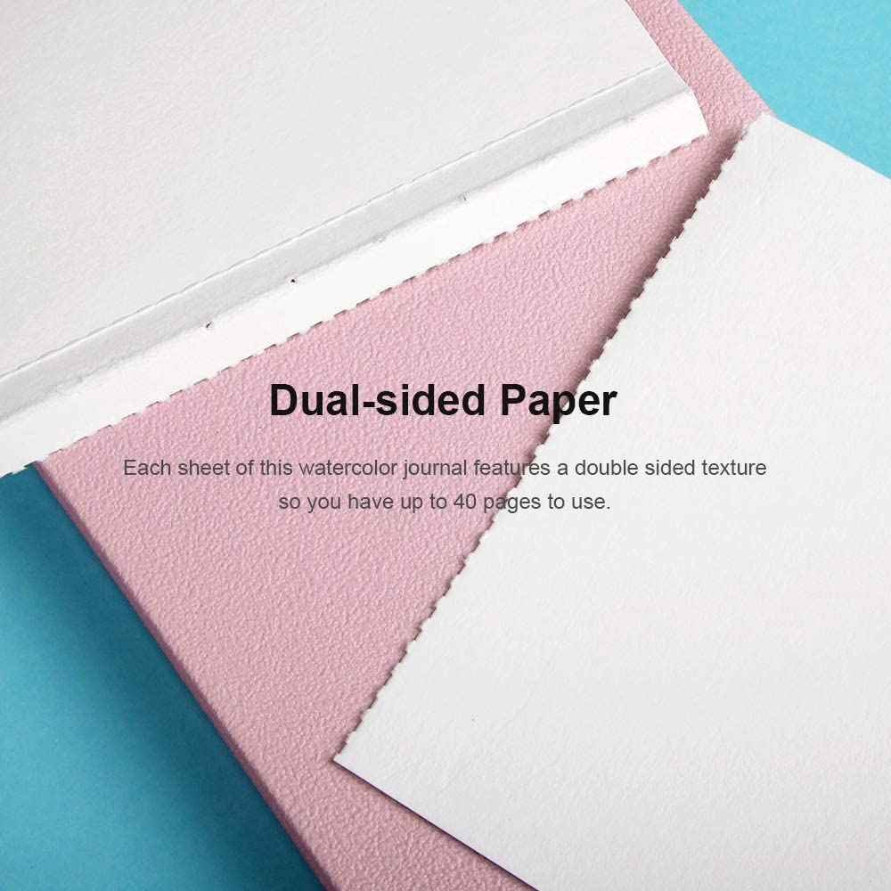 20 Sheets Paul Rubens Watercolor Paper Block 140lb Premium Leather Cover Artist Quality Hot Pressed Paper for Watercolors and Wet Media Block Pink Cover, 7.6/'/' x 5.3/'/'