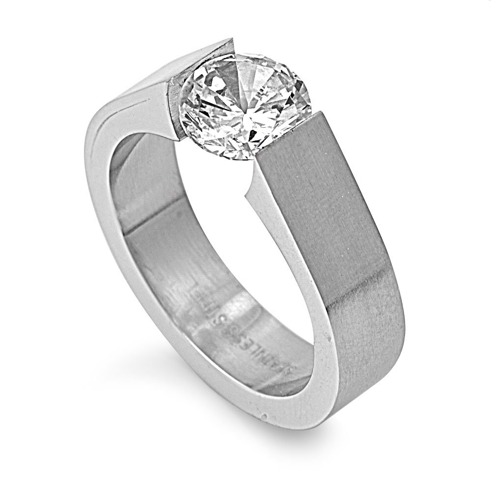 Round Clear Tension Set Cubic Zirconia Ring Stainless Steel Size 10
