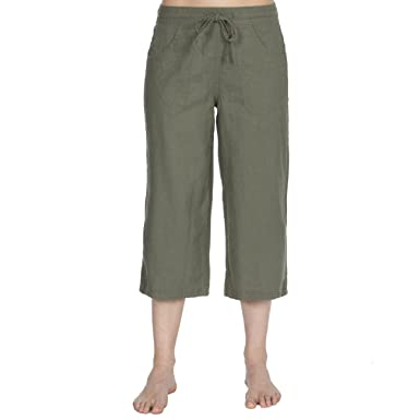 bacaf8bd048f10 Metzuyan Womens 3/4 Capri Pants Cropped Elasticated Trousers Plus Size  16-22 Khaki