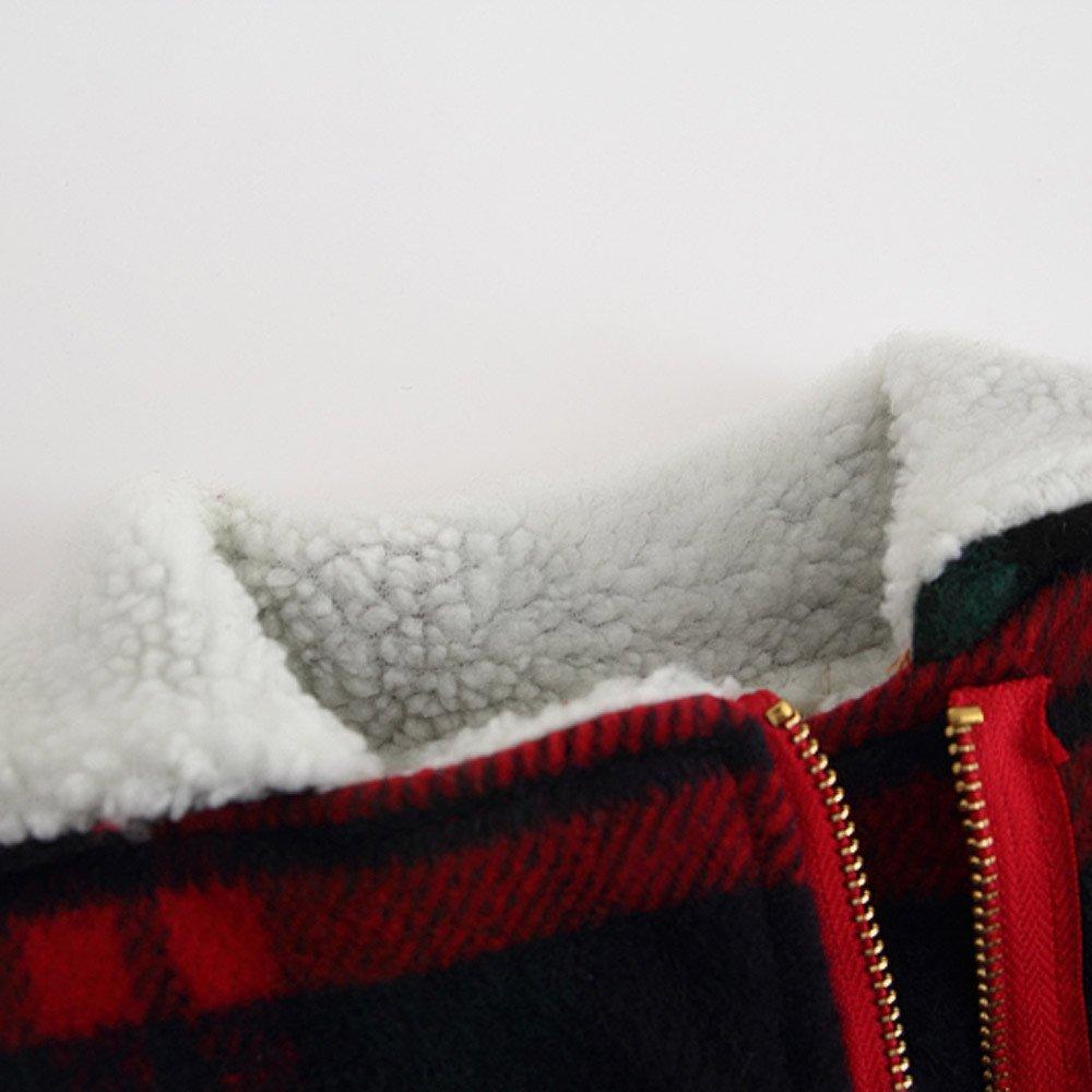 Lifestyler Girls Autumn Winter Woolen Plaid Coat Fashion Zipper Jacket Thick Warm Outwear