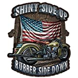 Built USA Shiny Side Up Rubber Side Down Decal | Patriotic American Flag Car Motorcycle Bicycle Skateboard Laptop Luggage Vinyl Graffiti Decals Bumper Stickers | 12'' - 10 Pack