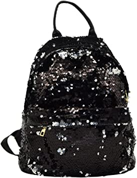 Women PU Leather Girls Bling Sequins Backpack Mini Small Bag School Bookbag Bags