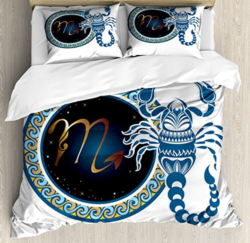 Ambesonne Zodiac Scorpio King Size Duvet Cover Set, Circle Shapes with Waves Pattern and an Ornamental Scorpion, Decorative 3 Piece Bedding Set with 2 Pillow Shams, Blue Indigo Pale Brown