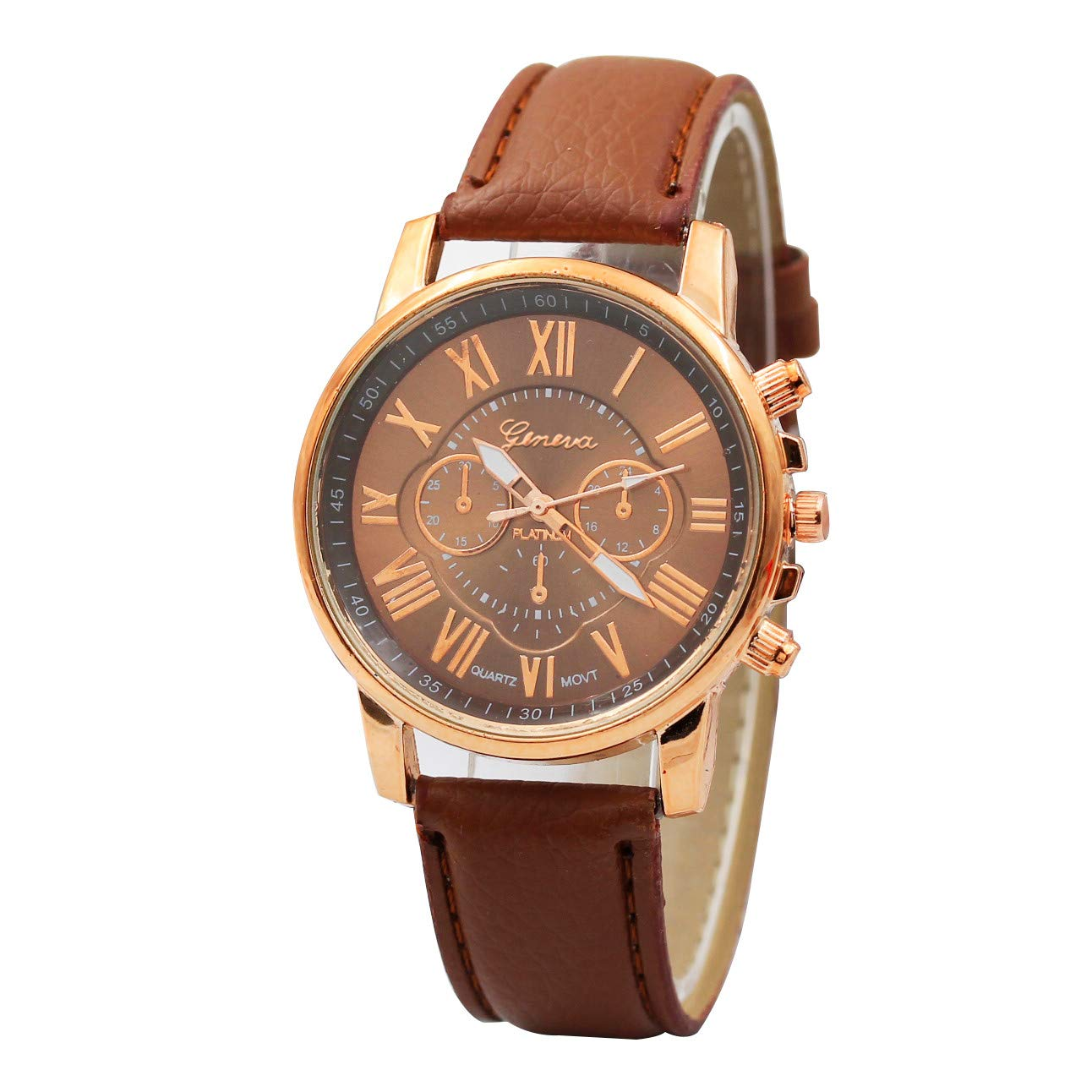 Star_wuvi Women's Indiglo Easy Reader Quartz Analog Leather Strap Watch with Date Feature