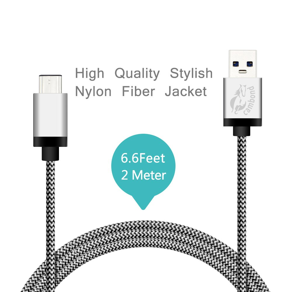 6.6ft / 2M Braided USB 2.0 Type C to Type A Cable (Silver)