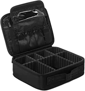 حقيبة صندوق المكياج من بيكوت، منظم أدوات التجميل، حقيبة تخزين متنقلة للفنانين مع فواصل قابلة للتعديل لمستحضرات التجميل وفرش المكياج وملحقات المجوهرات الشخصية، لون أسود