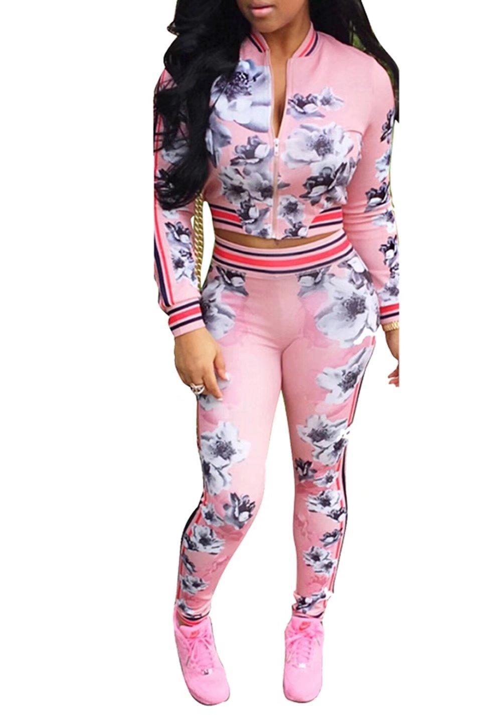 Women's Floral Zip Up 2 Piece Set Tracksuit Sports Joggers Jacket Suit Pink M