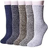Loritta 5 Pairs Womens Wool Socks Winter Warm Soft Knit Vintage Casual Crew Socks