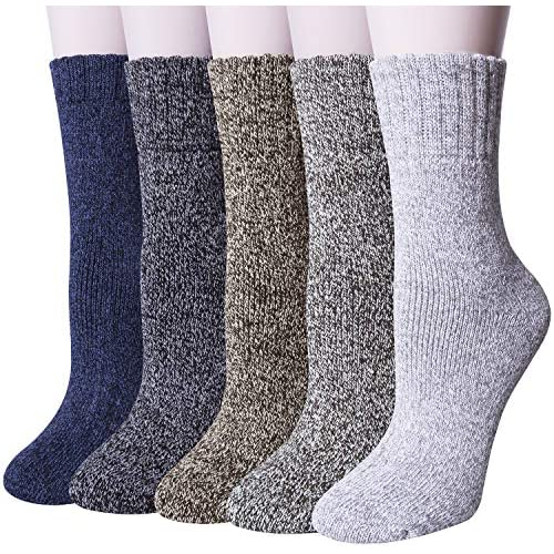 YSense 5 Pairs Womens Knit Warm Casual Wool Crew Winter Socks (fits shoe size 5-8) (Style 1(5 pack))