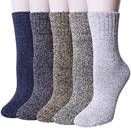 YSense 5 Pairs Womens Knit Warm Casual Wool Crew Winter Socks (fits shoe size 5-8) (Style 1(5 pack)) ()