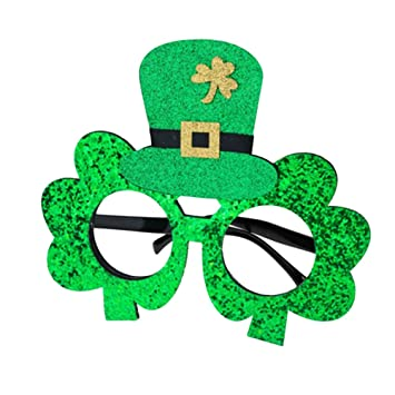 2d1519c09a2 TENDYCOCO St. Patrick s Day Shamrock Eyeglasses Green Glitter Clover Glasses  Frame Funny Party Makeup Eyeglasses