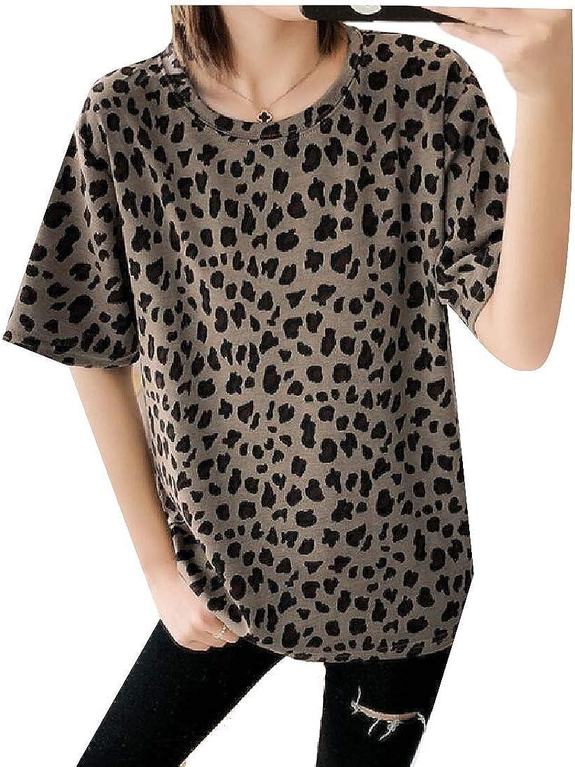 Wofupowga Women Summer Top Leopard Short Sleeve Printed Tee T-Shirts