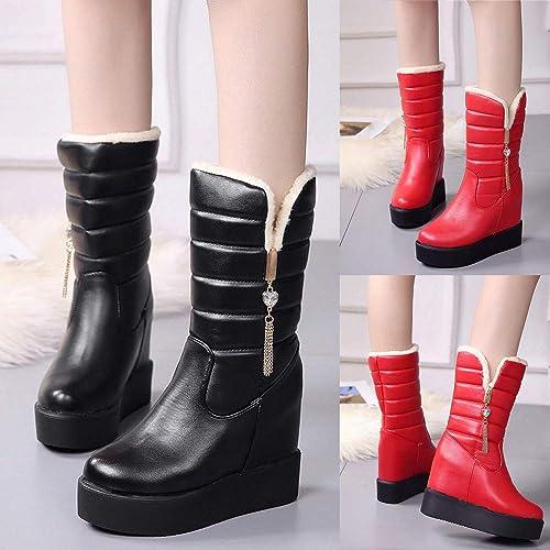Botas Altas de Plataforma Terciopelo para Mujer QinMM Zapatillas Botines Zapatos de otoño Invierno Fiesta: Amazon.es: Zapatos y complementos