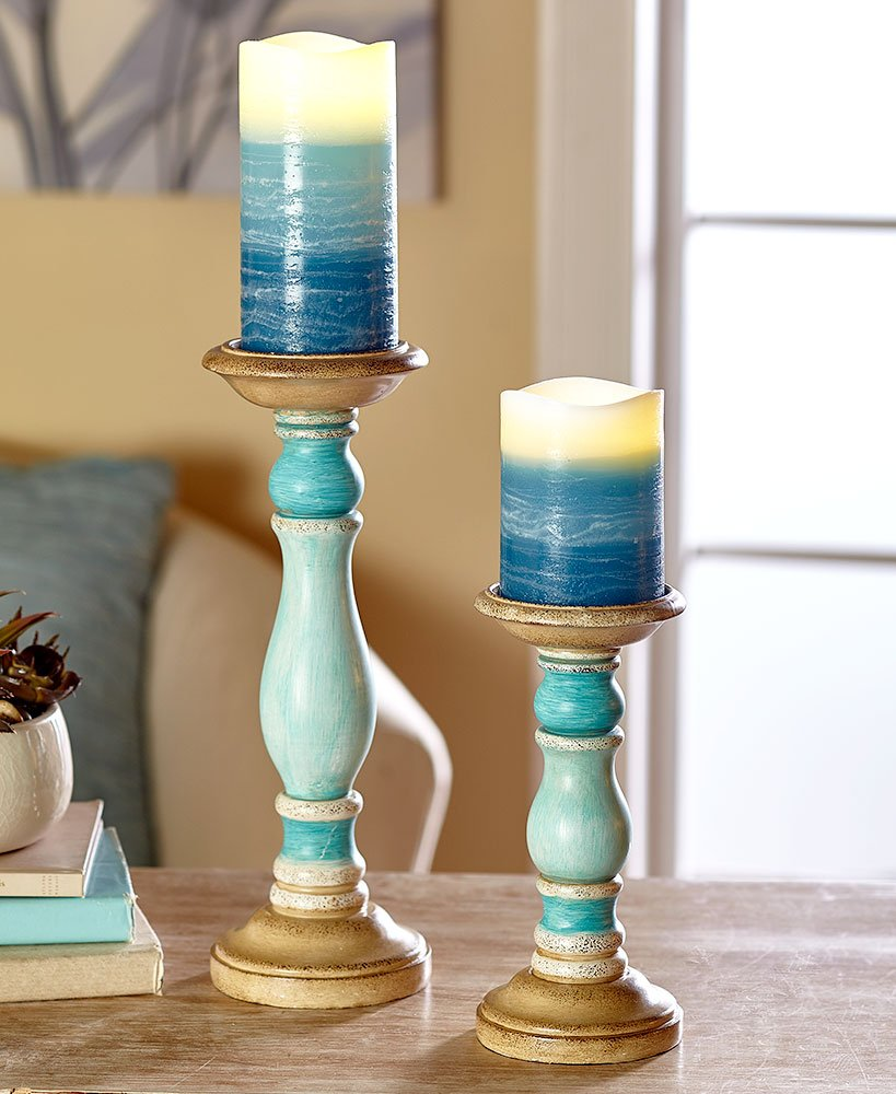 The Lakeside Collection 4-Pc. LED Candle & Holder Set- Blue by The Lakeside Collection