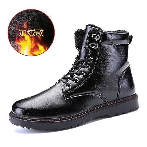 CHENJUAN Zapatos de Moda para Hombre Botines de Trabajo Botas Casuales Tendencia Gruesa Forrada con Forro Alto Bota Superior (Gamuza Opcional): Amazon.es: ...