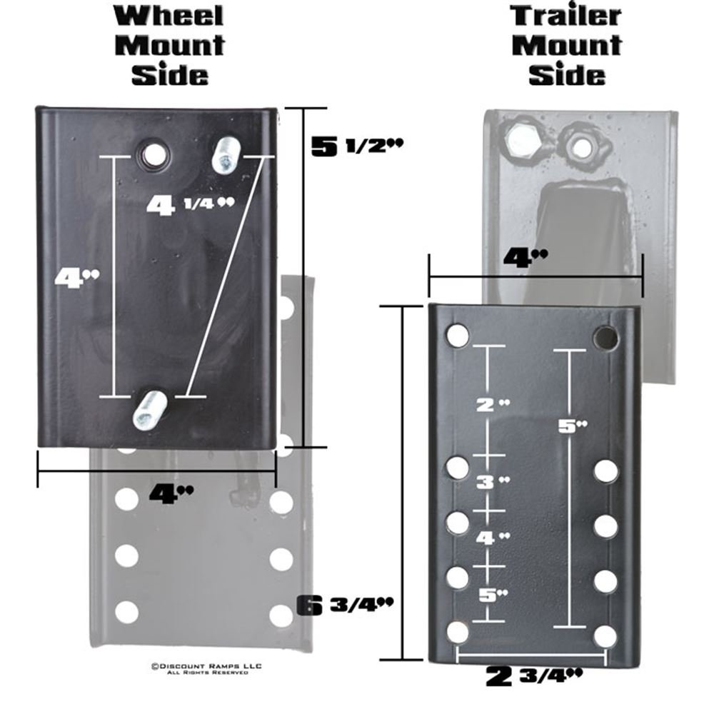 Apex Boat and Utility Trailer Spare Tire Carrier 4 or 5 Lug Wheel Bracket No-Drill