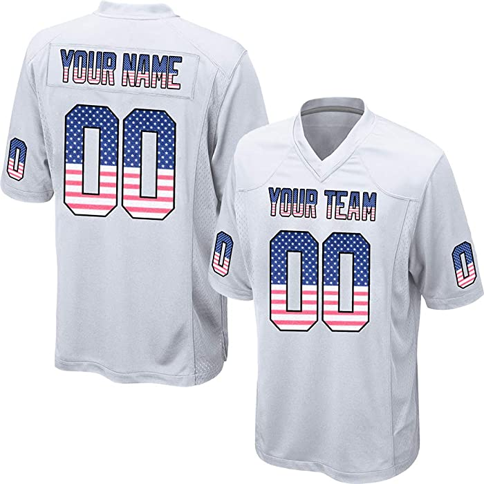 e14a5d2da08 Customized Women's White Mesh Football Game Jersey Embroidered Team Name  and Your Numbers,American Flag