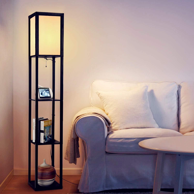 Floor Lamp with Shelves – Albrillo Modern Shelf Floor Lamp for Living Room Bedroom Office, Standing Lamp with Wooden Frame, White Shade