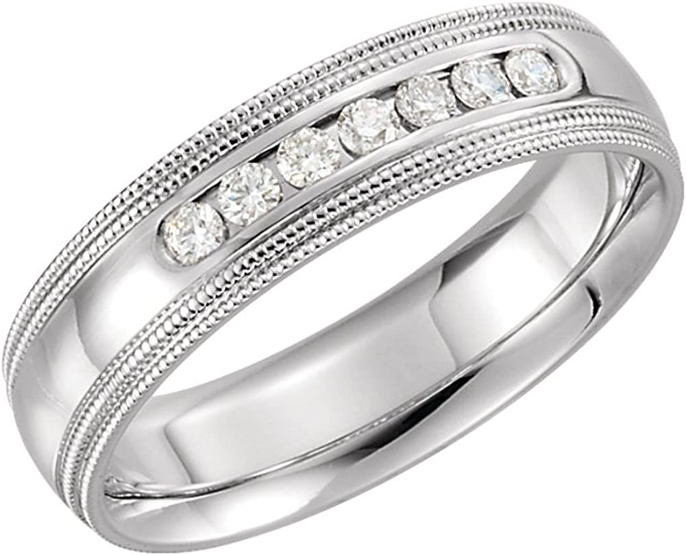 Stainless Steel Brushed and Polished Ridged 6.00mm Band Size 12 Length Width 6