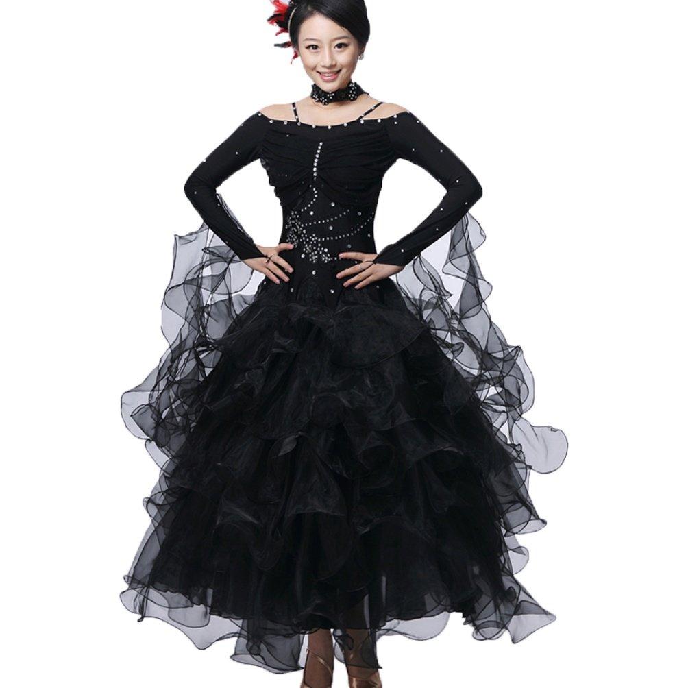 Nationale Ballsaal Tanz Kleidung Kleidung Kleidung Für Frauen Lange Ärmel Schulterriemen Walzer Modern Wettbewerb Tanzkleider Performance Kostüm B07CZKHZ1Y Bekleidung Nutzen Sie Materialien voll aus 65b67e