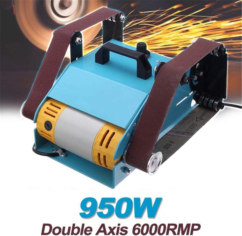 110V/950W Desktop Double-axis Electric Belt Sander, Multi-Function Belt Sander, Adjustable Grinder Polishing Machine, Sanding Tool Grinder