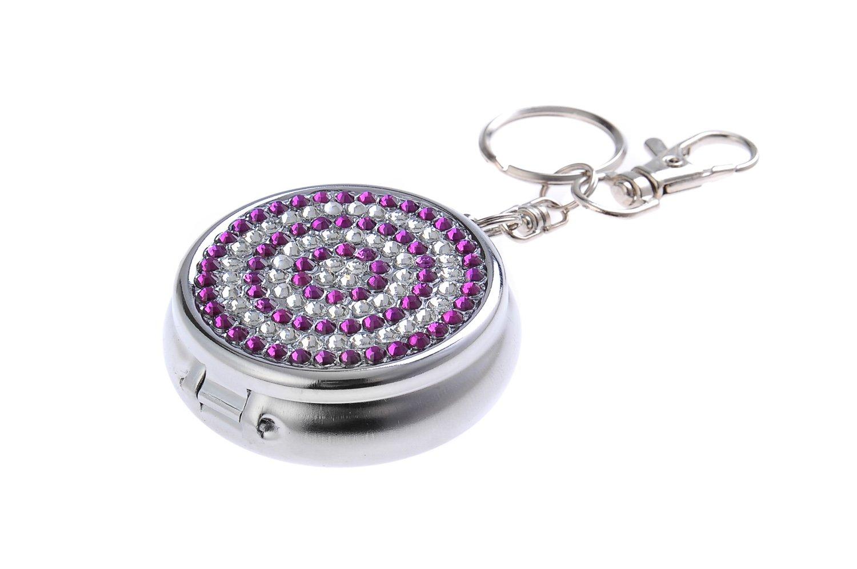 gancetto portachiavi e portasigarette,/ Mod Mini posacenere il lega di zinco//Posacenere tascabile//Posacenere da viaggio con diamanti sintetici viola e chiari 818-07 DE