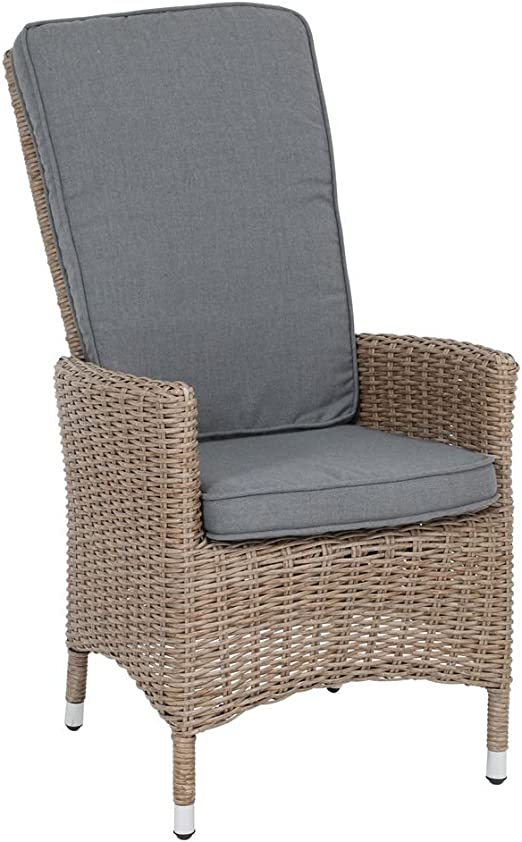 Greemotion Rattan Lounge Chair Monorca High Back Armchair In Brown Wicker Furniture With Cushions Garda Garden Furniture Amazon Co Uk Garden Outdoors
