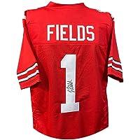 $209 » Justin Fields Autographed Ohio State Custom Red Football Jersey - JSA COA
