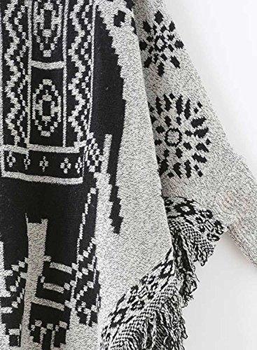 Futurino Women's Warm Tassel Poncho Sweater Cape Shawls Batwing Sleeves well-wreapped