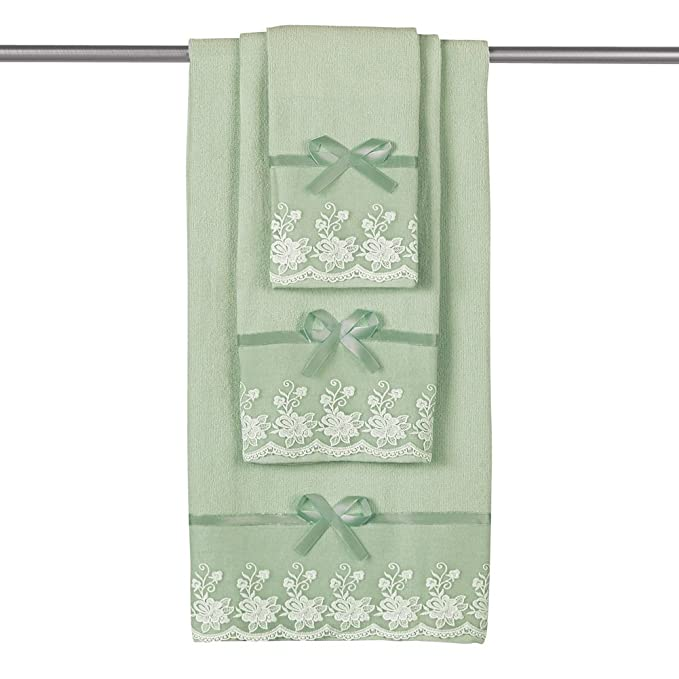 Amazon.com: Collections Etc Lace Trim Decorative Display Towel Set with Ribbon Bows, 3-Piece Set with Bath Towel, Hand Towel & Washcloth, ...