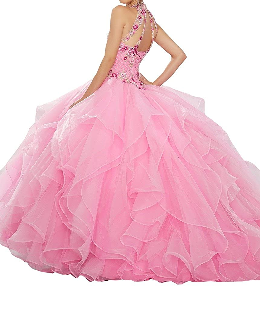a6b91e1195 BoShi Women s Multicolored Embroidery High Halter Sweet 15 Quinceañera  Dresses at Amazon Women s Clothing store