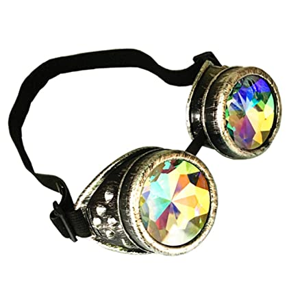 b58cc5f69ab Glasses KING Vintage Steampunk Goggles Glasses With Elastic Band And  Colored Diamond Lens - Retro Victorian Cosplay(Antique Silver Frame) - -  Amazon.com