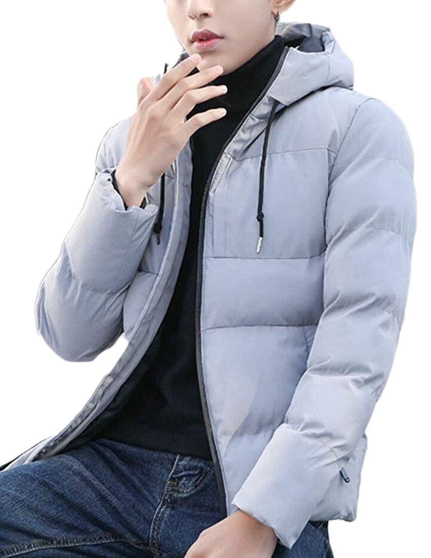 WSPLYSPJY Mens Hooded Slim Quilted Thick Zip Warm Winter Down Jacket Coat
