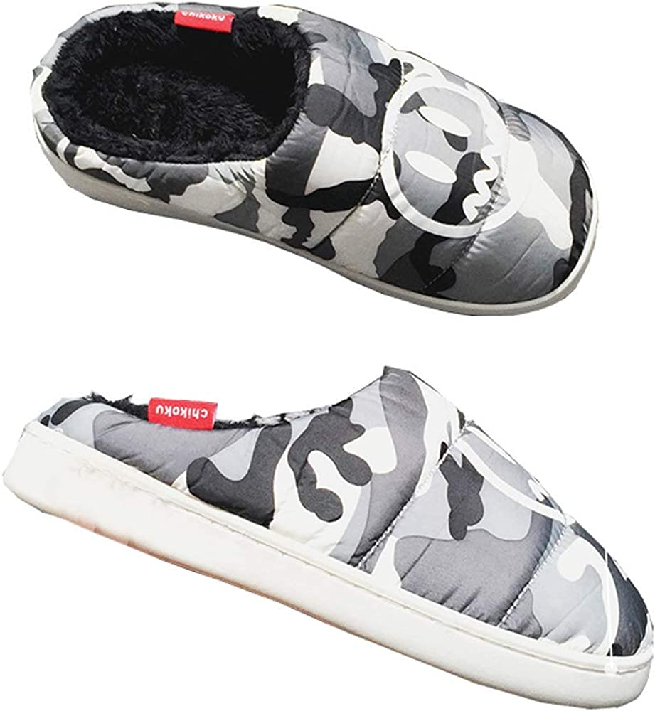 Unisex Slippers Down Memory Foam Camouflage Warm Indoor Outdoor House Shoes
