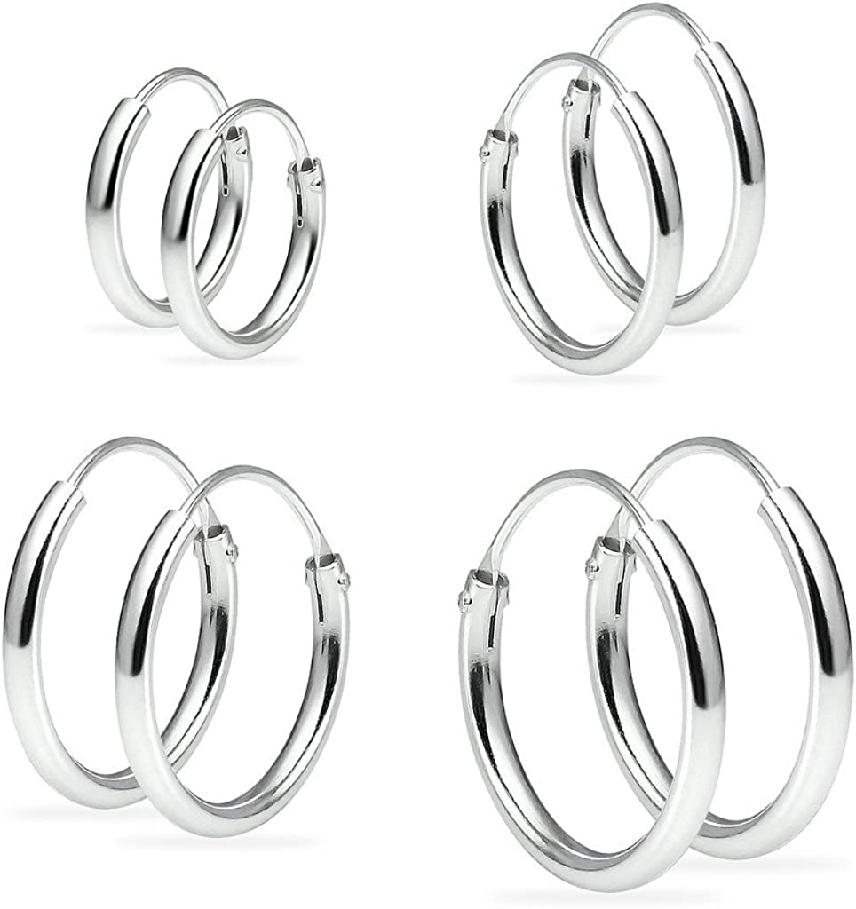 Set of Four Sterling Silver Small Endless 1.2mm x 10mm, 12mm, 14mm & 16mm Lightweight Thin Round Unisex Hoop Earrings