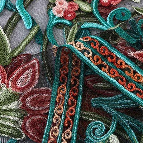 Redondo Verano Bohemios De Vintage LHWY De Mujer Vestidos Vestidos Cuello Malla Fiesta Transparentes Vestidos Bordado 88vYw6q