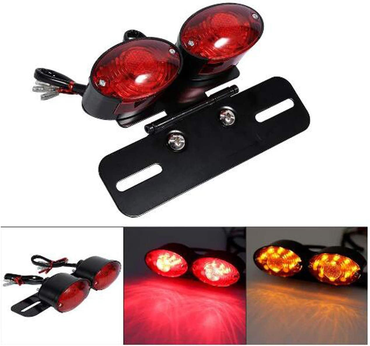 HANEU Support de feux arri/ère LED pour Quad CB ATV Cruiser Cafe Racer Dual Sport XL FL Buggy Custom Chrome//Red